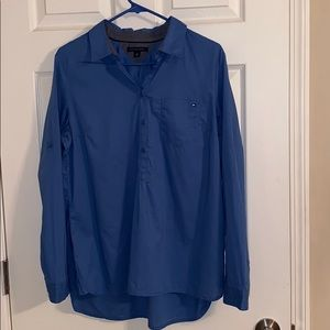 💙 Tommy Hilfiger Blue Half Button Down Shirt